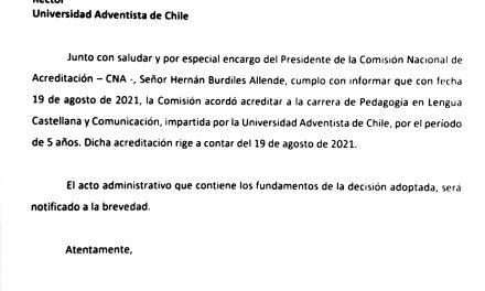 La (CNA) acordó acreditar por 5 años la carrera de Pedagogía en Lengua Castellana y Comunicación de la UNACH.